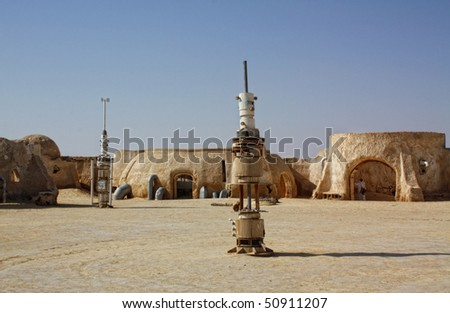 SAHARA, TUNISIA - OCT 18: Abandoned sets for the shooting of the movie Star Wars in the Sahara desert on a background of sand dunes on October 18, 2008 in Sahara, Tunisia - stock photo