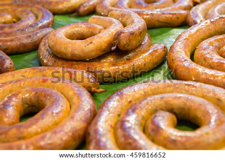 Sai Aua (Notrhern Thai Spicy Sausage ) in the market