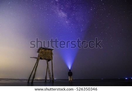SAI GON, VIET NAM - JAN 10, 2016 - Looking for milkyway on Can Gio beach