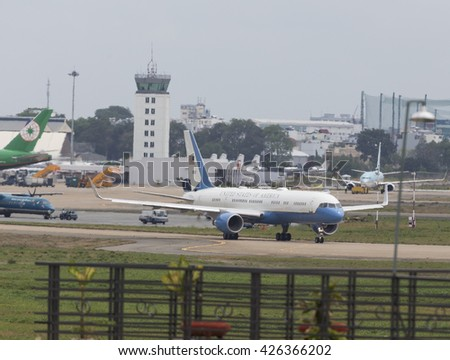 Sai Gon, Vietnam 25 May 2016: The Boeing C-32  (757) aircraft carry the crew of the President of the United State of America Barack Obama prepare to take off at Tan Son Nhat International Airport  - stock photo