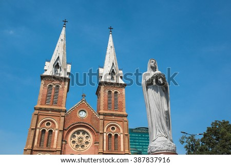 Saigon Notre-Dame Basilica in Ho Chi Minh City, Vietnam - stock photo