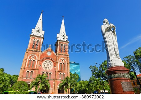 Saigon Notre Dame Cathedral Basilica in Ho Chi Minh city, Vietnam. Asia - stock photo