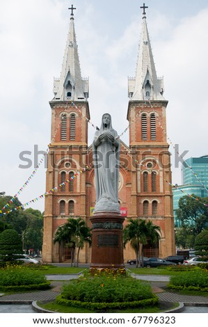 Saigon Notre-Dame Cathredal in Ho Chi Minh City, Vietnam. - stock photo