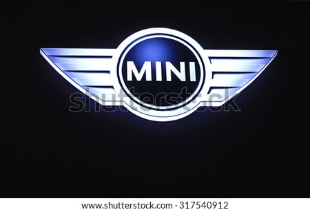 Saigon, Vietnam - Nov 22, 2014: MINI dealership logo. MINI is a British automotive marque (British Motor Corporation) owned by BMW which specialises in small cars - stock photo