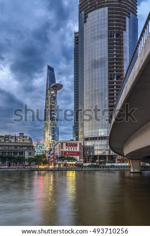 SAIGON, VIETNAM - OCTOBER 05, 2016 -  Bitexco Financial Tower in Saigon (Ho Chi Minh City) Vietnam in the blue sky. The tower has the shape of lotus with height of 262.5 meters.