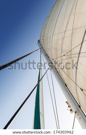 Sail and rigging against a clear sky