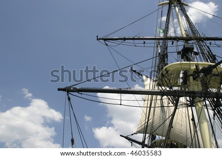 Sail and rigging on tall ship schooner