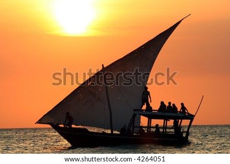 Sail Boat at Sunset - stock photo