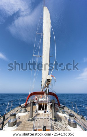 sail boat in the ocean - stock photo