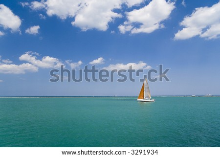 Sail boat on Lake Michigan, Chicago