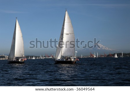 Sail boat race in Seattle with Mount Hood mountain and blue sky
