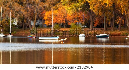 Sail boats and autumn foliage on Lake Calhoun. More with keyword group18