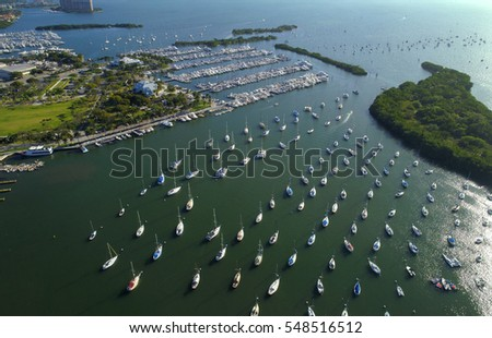 Sail boats at Coconut Grove Miami