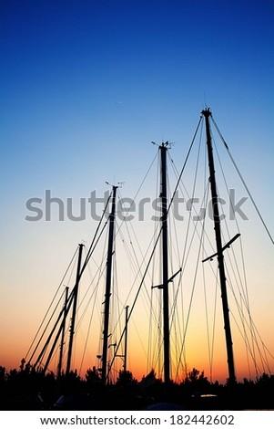 Sail Boats at Sunset - stock photo