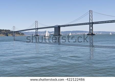 Sail Boats on the San Francisco Bay and the Bay Bridge - stock photo