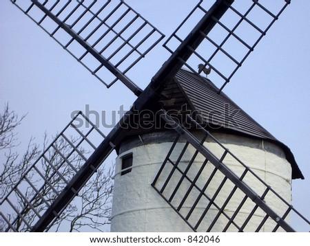 Sail hub on an English windmill on a frosty morning - stock photo