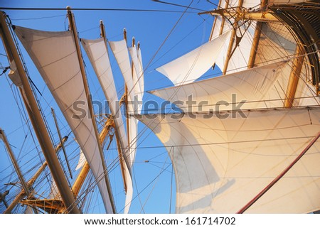 Sail of a clipper ship, Amalfi, Province Of Salerno, Gulf Of Salerno, Tyrrhenian Sea, Campania, Italy - stock photo