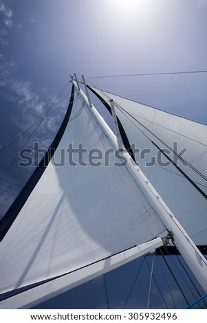 Sail on a yacht against blue sky