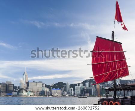 Sail Ship in Victoria harbor of Hong Kong - stock photo