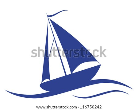 Sail ship. Raster version of vector illustration.