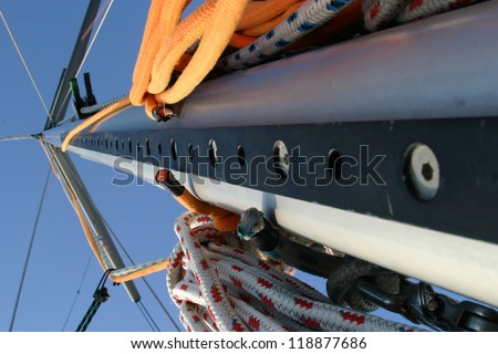 Sail with ropes on it - stock photo
