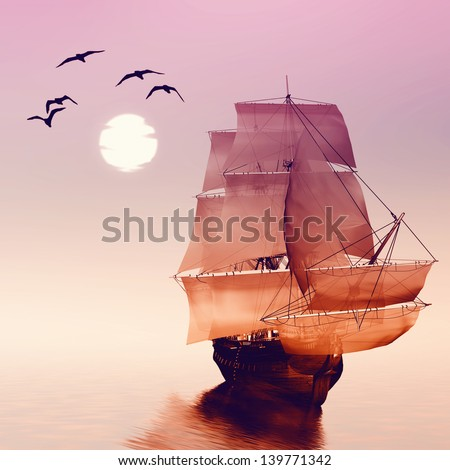 Sailboat against a beautiful landscape  - stock photo