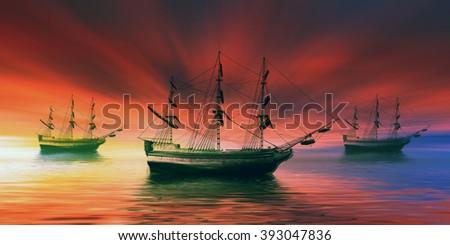 Sailboat against beautiful sunset landscape - stock photo
