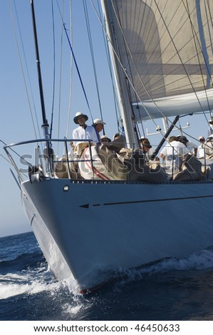 Sailboat and Crew During Race - stock photo