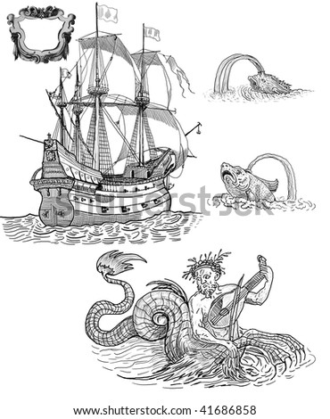 Sailboat and mythologic herous - stock photo