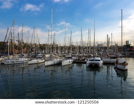 Sailboat and sailing ship Port Vell in Barcelona, Spain - stock photo