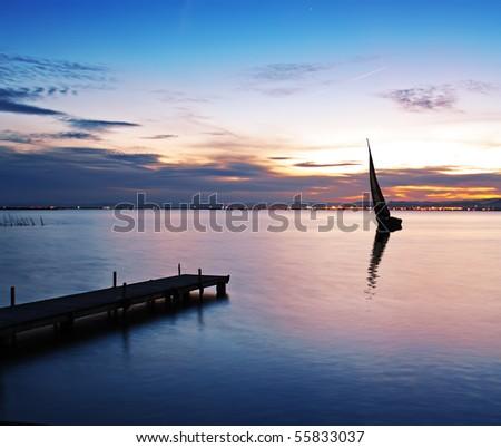 sailboat at sea - stock photo