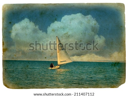 sailboat at sea. Old postcard, design in grunge and retro style. Isolated on white background