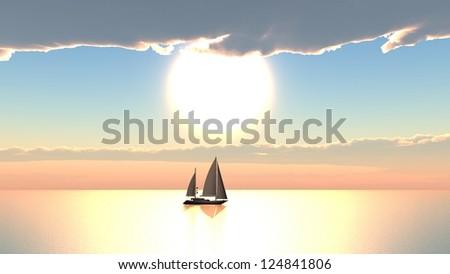 Sailboat cloudy sunset - stock photo