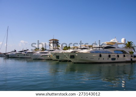 Sailboat harbor, many beautiful moored sail yachts in the sea port, Majorca,  Balearic Islands, Spain, modern water transport, summertime, vacation, luxury lifestyle and wealth concept - stock photo