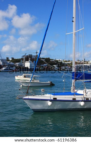 Sailboat in the harbor off Hamilton Bermuda - stock photo