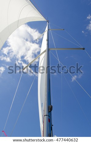 Sailboat mast, part of mainsail and jib, against a blue sky background