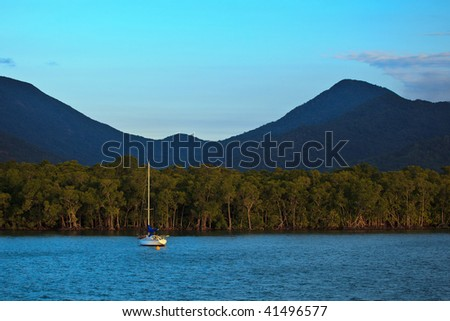 Sailboat Moored in Cairns Harbor Great Barrier Reef - stock photo
