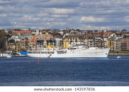 Sailboat moored in the Norwegian capital. Oslo - stock photo