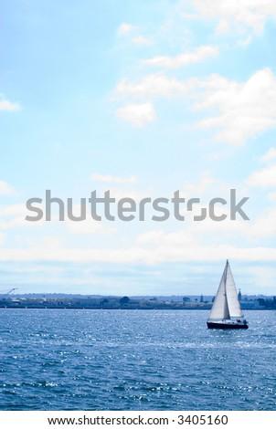 Sailboat on Bay - stock photo