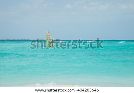 Sailboat on the Caribbean Sea, Riviera Maya, Isla Mujeres, Mexico, Cancun - stock photo