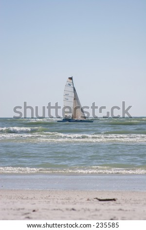 Sailboat on the gulf of Mexico