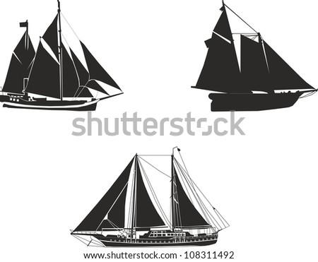 sailboat silhouettes - stock photo
