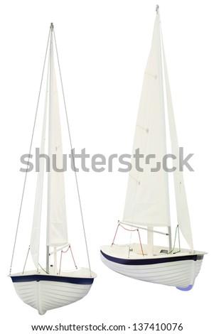sailboat under the white background - stock photo