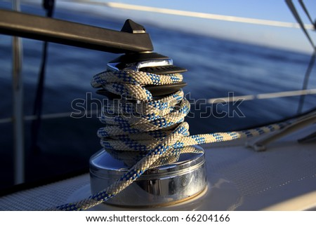 sailboat winch - stock photo