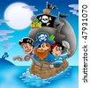 Sailboat with cartoon pirates at night - color illustration. - stock photo