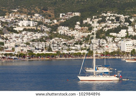 Sailboats and Bodrum Cityscape from Turkey
