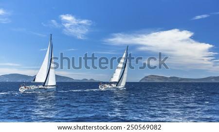Sailboats in sailing regatta. Sailing. - stock photo