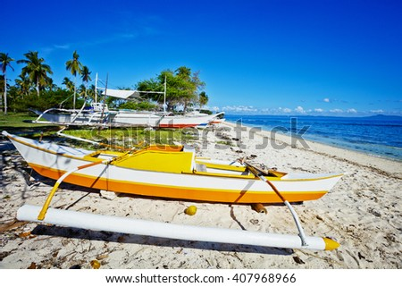 Sailboats in the Philippines. - stock photo