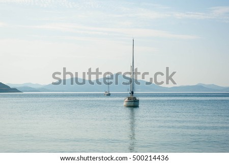 Sailboats on a sunny morning on the Mediterranean Sea
