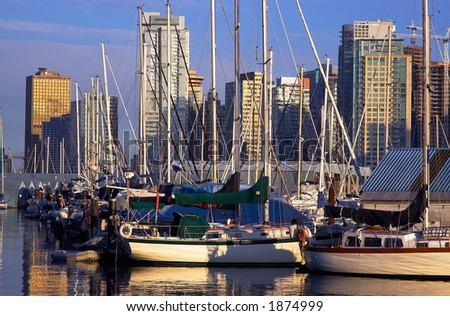Sailboats parking in Vancouver harbor. More with keyword group14g
